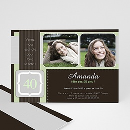 Invitations Anniversaire adulte Menthe Chocolat