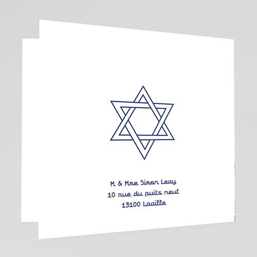 Faire-Part Bar-Mitzvah symboles en bleu gratuit