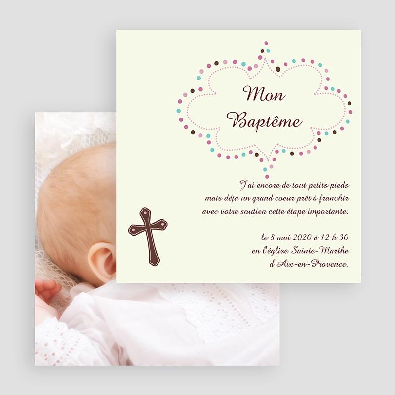Faire-Part Baptême Fille Cérémonie Melys gratuit