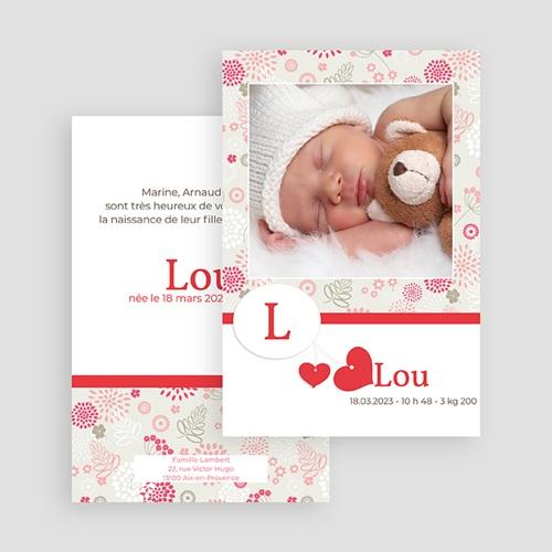 Faire-Part Naissance Fille Lou gratuit