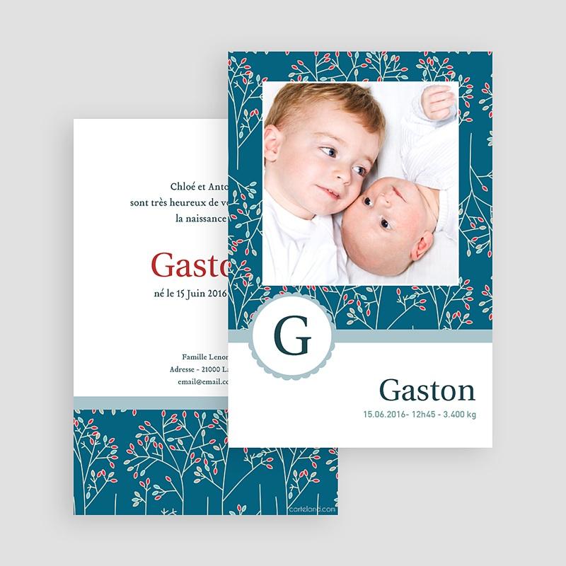 Faire-part naissance garçon Gaston gratuit
