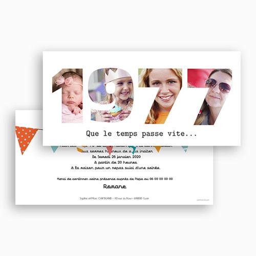 Carte Invitation Anniversaire Adulte L'année de Naissance gratuit