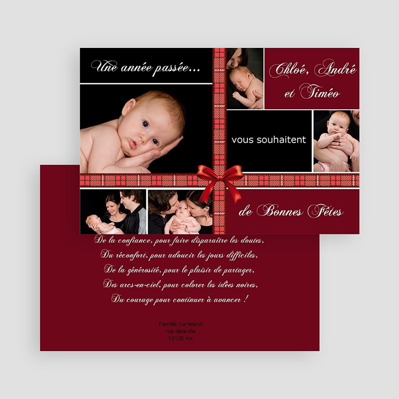Carte de Voeux 2019 - Ruban Rouge de Noel 18419 thumb
