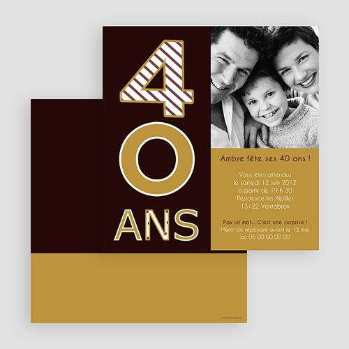 Invitation Anniversaire Adulte - 40 ans - Chocolat & Or 18535 preview