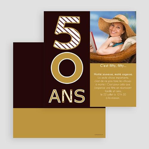 Carte Invitation Anniversaire Adulte 50 ans - Or et Chocolat gratuit
