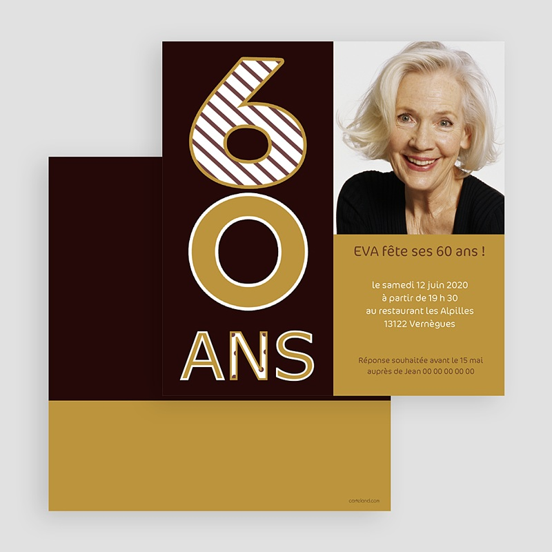 invitation anniversaire adulte couleur or 60 ans. Black Bedroom Furniture Sets. Home Design Ideas