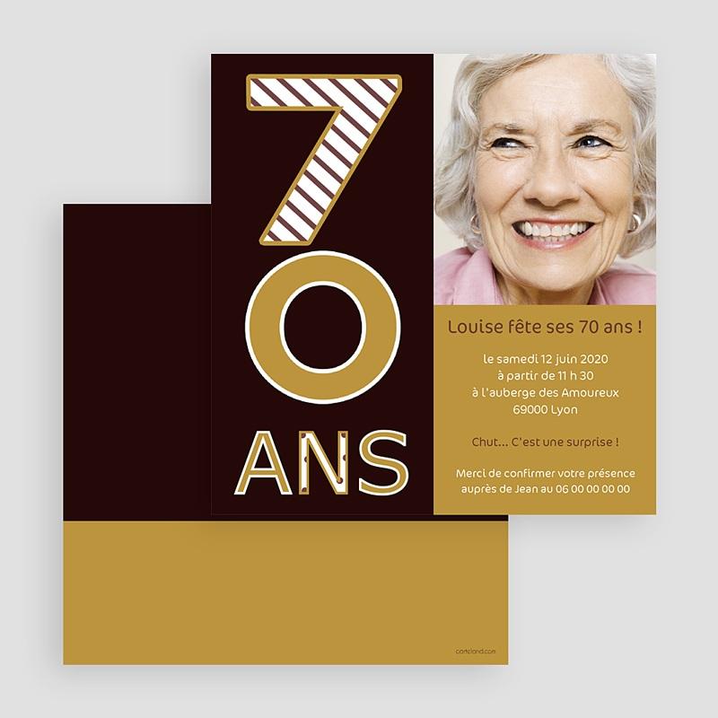 Carte invitation anniversaire adulte 70 ans - Or et Chocolat gratuit
