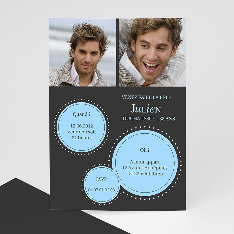 Carte invitation anniversaire adulte A l'affiche
