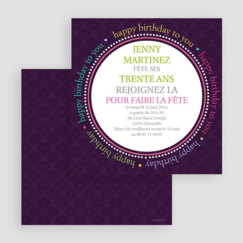 Invitation Anniversaire Adulte - Round the Clock 18570 thumb