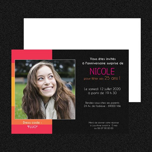 Carte invitation anniversaire adulte Color black gratuit