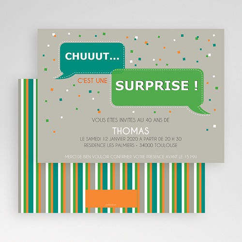 Carte invitation anniversaire adulte Chut ! Surprise gratuit