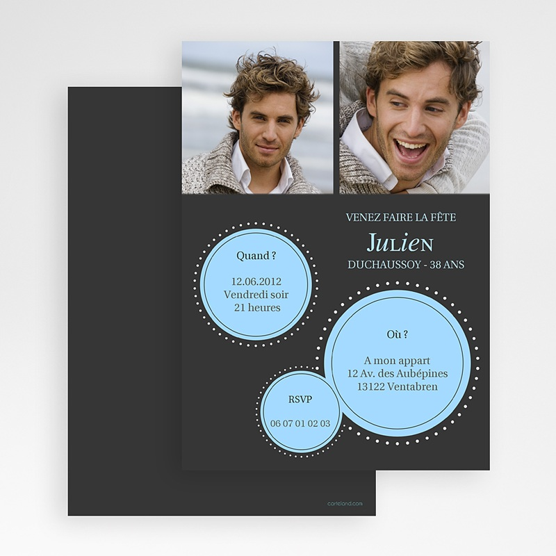 Carte Invitation Anniversaire Adulte A l'affiche gratuit