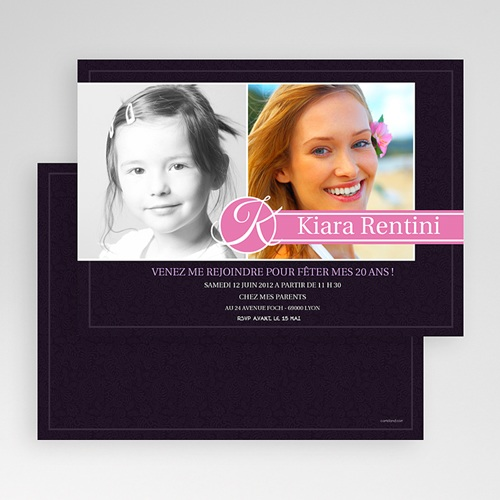 Carte Invitation Anniversaire Adulte Du bouton à la fleur gratuit