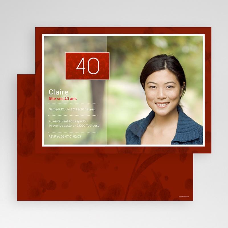 Carte Invitation Anniversaire Adulte Rouge tape à l'oeil gratuit