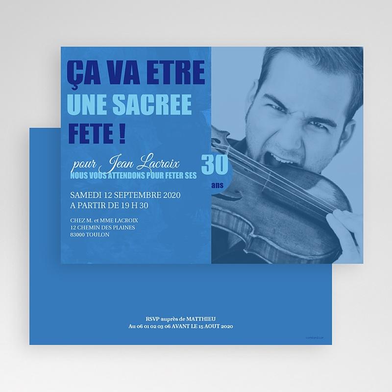 Carte Invitation Anniversaire Adulte Ombre bleue gratuit