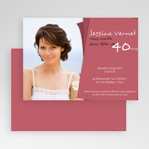 Invitation Anniversaire Adulte - Rose-thé 18666 preview