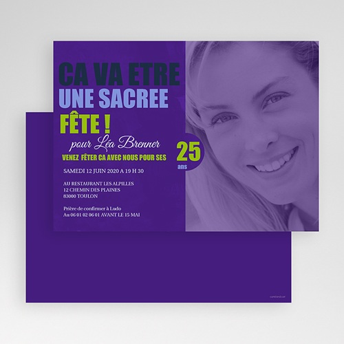Carte Invitation Anniversaire Adulte Ombre Violette gratuit