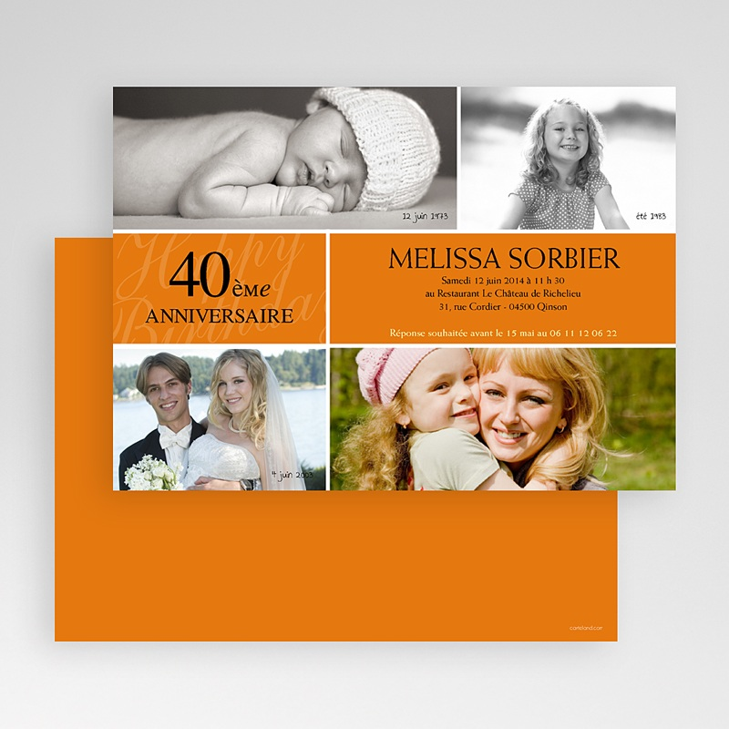Invitation Anniversaire Adulte - Mine Orange 18709 thumb