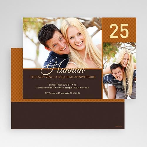 Invitation Anniversaire Adulte - Couleur Caramel 18718 thumb