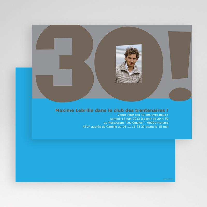 Carte Invitation Anniversaire Adulte 30 ans Homme gratuit