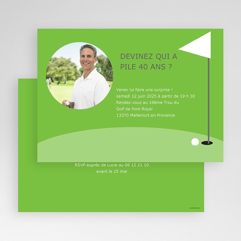 Carte invitation anniversaire adulte Golfeur gratuit