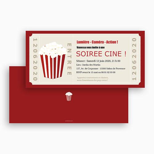 Carte invitation anniversaire adulte Ticket cinéma gratuit
