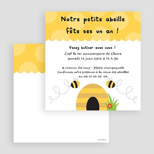 Carte invitation anniversaire garçon Abeille gratuit