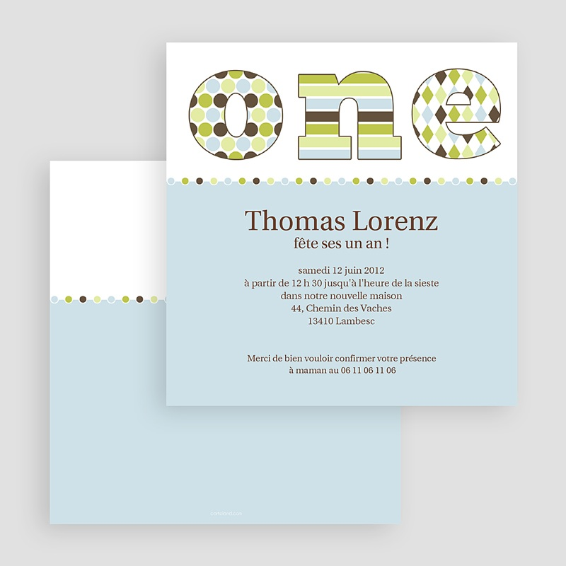 Carte invitation anniversaire garçon Délice bleu-vert gratuit