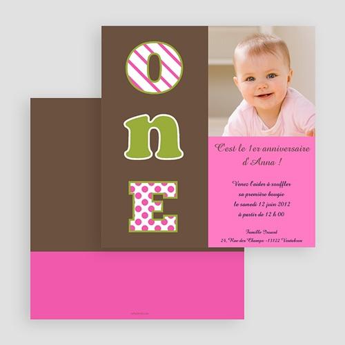 Invitations Anniversaire Fille - Numéro UN- fille 18804 thumb