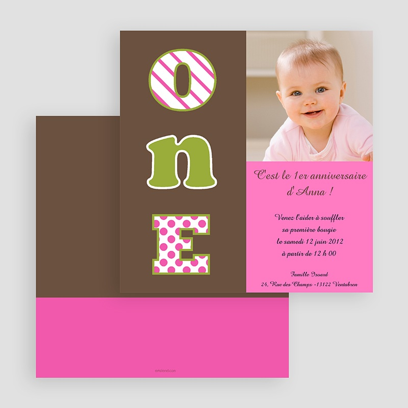 Invitation Anniversaire Fille - Numéro UN- fille 18804 thumb