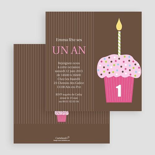 Invitations Anniversaire Garçon - Cupcakes à la fraise 18814 preview