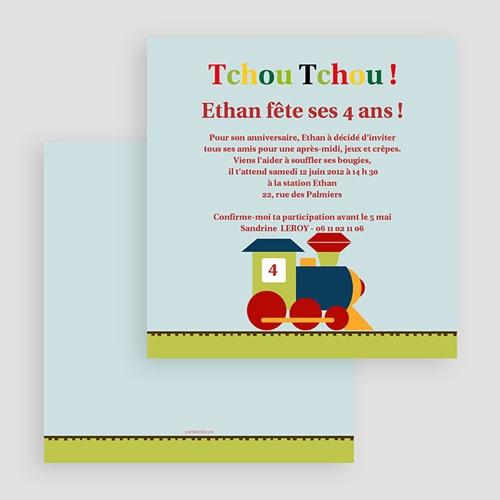 Carte invitation anniversaire garçon Train des 4 ans gratuit