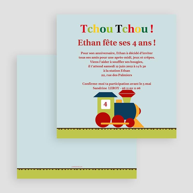 Invitation Anniversaire Garçon - Train des 4 ans 18817 thumb
