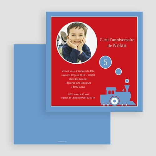 Carte invitation anniversaire garçon Petit train gratuit
