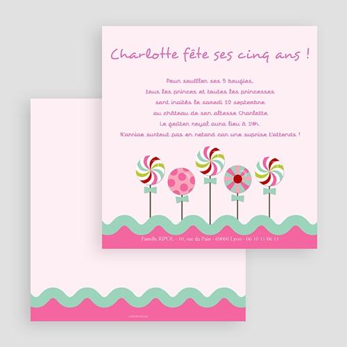 Carte invitation anniversaire fille Sucre d'orge gratuit