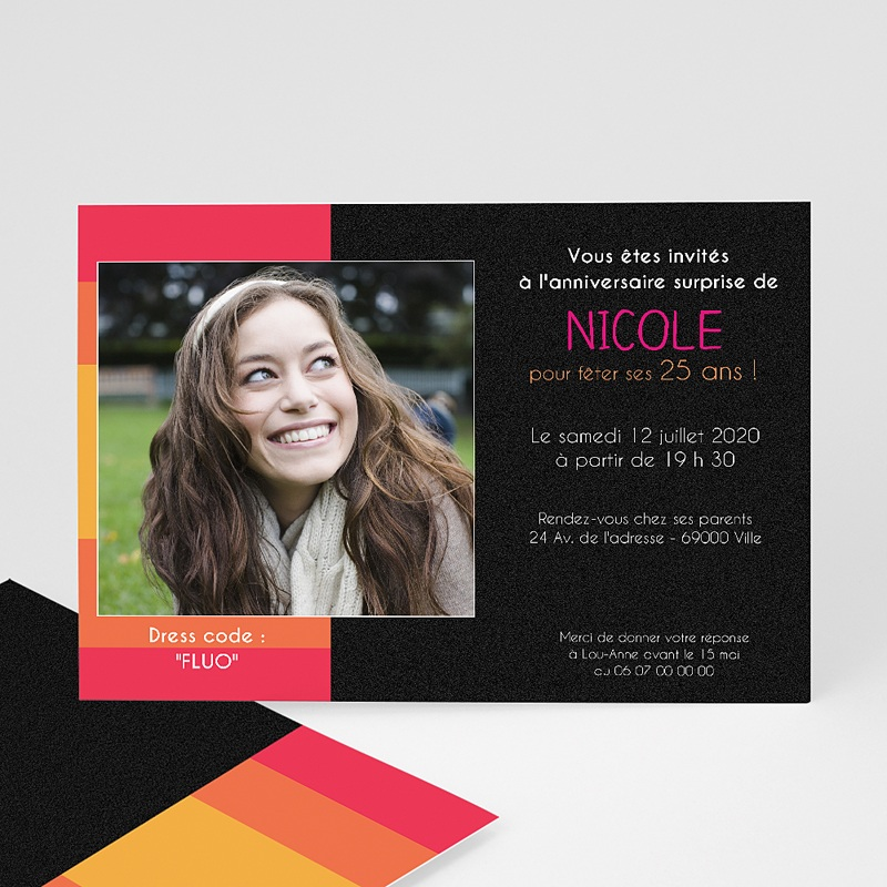 Carte invitation anniversaire adulte Color black