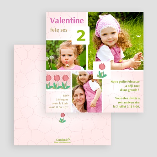 Carte invitation anniversaire fille Tulipe dans le jardin gratuit