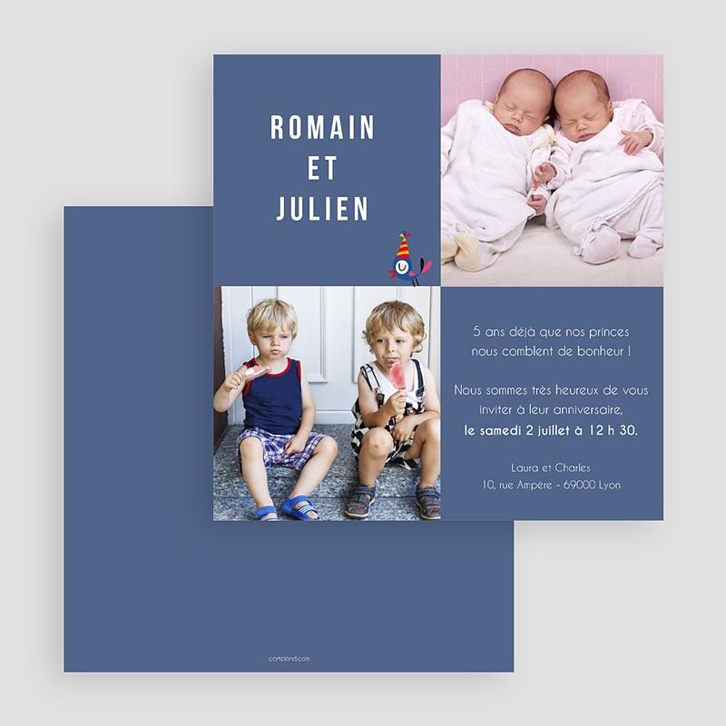 Carte invitation anniversaire garçon Jumeaux gratuit