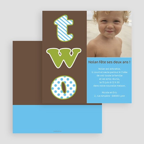Invitations Anniversaire Garçon - 2 ans, 2 years, 2 yahre 18861 preview