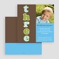 Carte invitation anniversaire garçon Three - Drei - Trois - Bleu gratuit