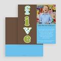 Carte invitation anniversaire garçon Cinq - Five - fünf - Bleu gratuit