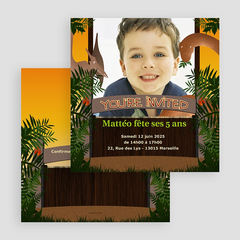 Carte invitation anniversaire garçon Dinosaure Jungle gratuit