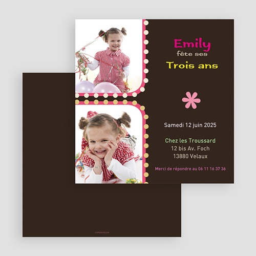 Invitations Anniversaire Fille - 1,2,3 soleil - rose 18867 preview