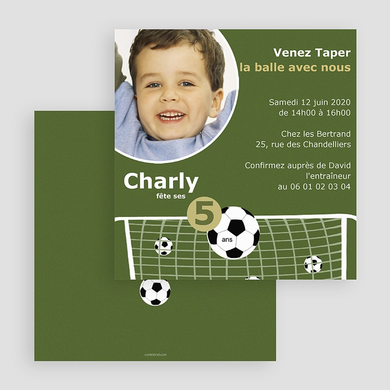 Carte invitation anniversaire garçon Football gratuit
