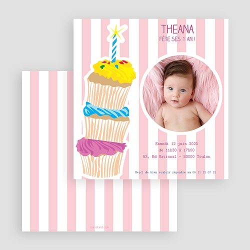 Invitations Anniversaire Fille - 3 bougies et 3 muffins 18905 preview