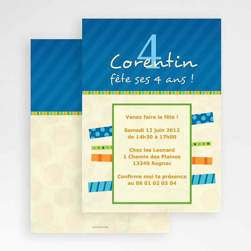 invitation anniversaire 4 ans bleu jaune. Black Bedroom Furniture Sets. Home Design Ideas
