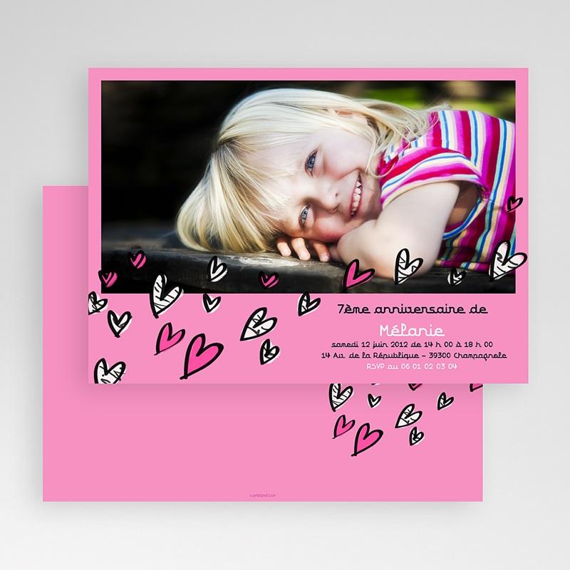 Carte invitation anniversaire fille Coeurs bariolés gratuit