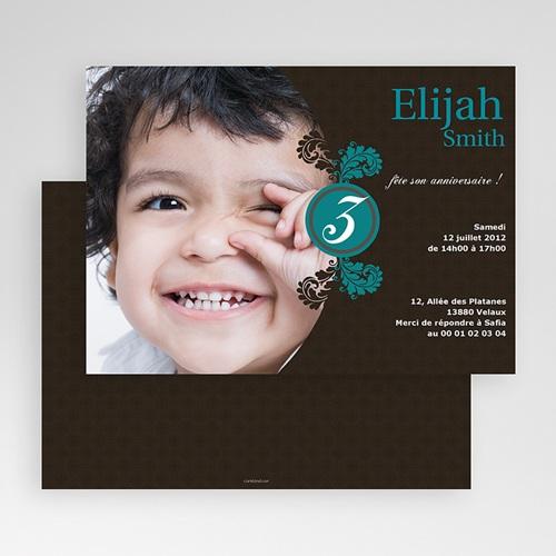 Invitation Anniversaire Enfant - Trois Feuilles Bleues 19008 thumb