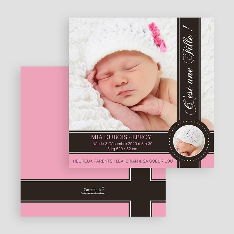 Faire-part naissance fille Lovely Princess Pink gratuit