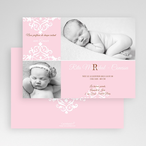 Faire-Part Naissance Fille - Design Royal - Rose 19305 preview